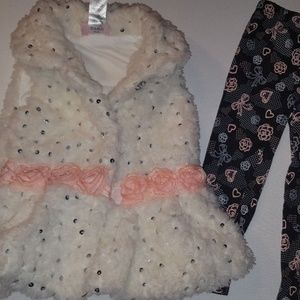 Little Lass Matching Sets - Toddler Girl Size 3T Little Lass Vest and Pant